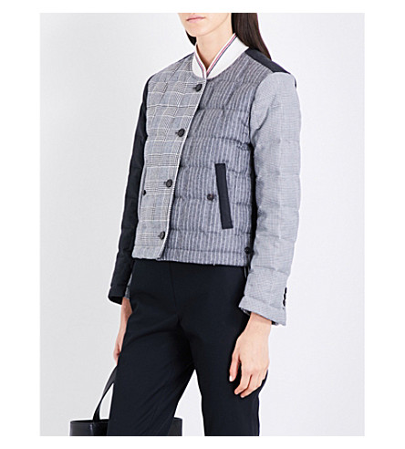 THOM BROWNE Patchwork padded wool bomber jacket (Blk/wht