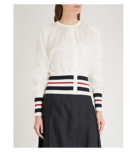THOM BROWNE Contrast-trim organza and knitted cardigan (White