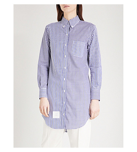 THOM BROWNE Funmix cotton shirt (Navy