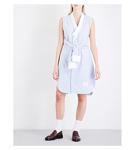 THOM BROWNE Wrap Oxford-cotton shirt dress (Light blue