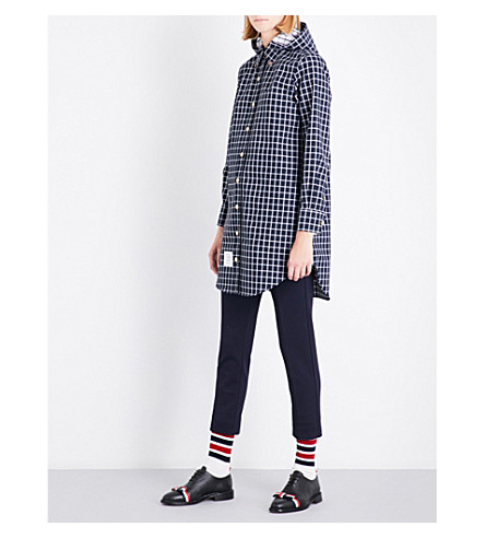 THOM BROWNE Checked hooded shell raincoat (Navy
