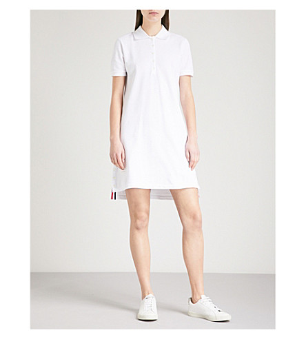 THOM BROWNE Stepped-hem cotton-piqué polo dress (Navy
