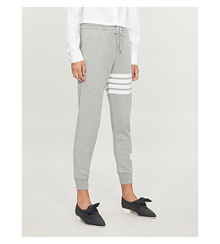 THOM BROWNE Four Stripes cotton-jersey jogging bottoms (Light+grey