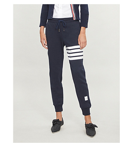 THOM BROWNE Four Stripes cotton-jersey jogging bottoms (Navy