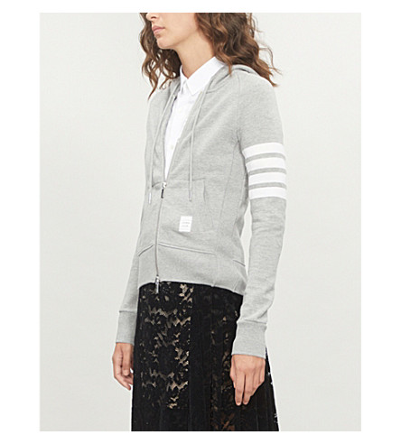 THOM BROWNE 4-bar Stripe cotton-jersey hoody (Light+grey