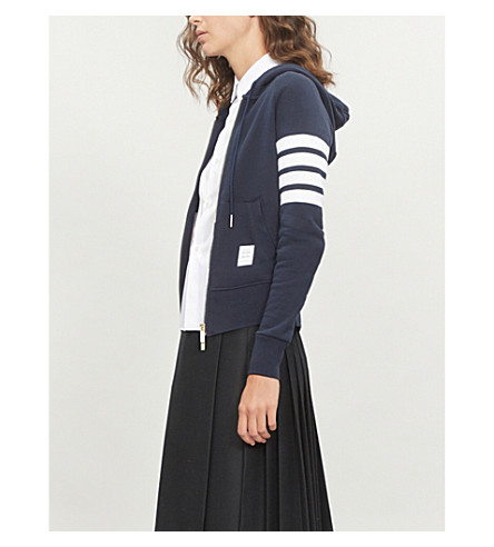 THOM BROWNE Four stripe cotton-jersey hoody (Navy