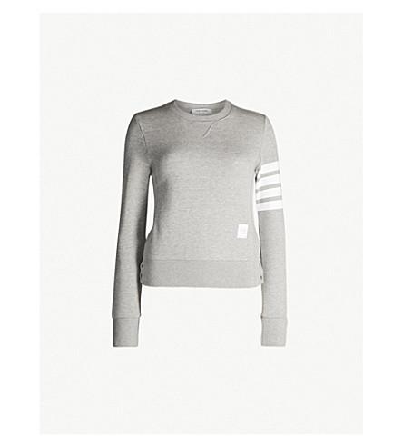 THOM BROWNE 4-bar Stripe cotton-jersey sweatshirt (Light grey