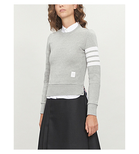 THOM BROWNE 4-bar Stripe cotton-jersey sweatshirt (Light+grey