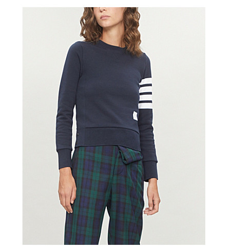 THOM BROWNE Striped-sleeve cotton-jersey sweatshirt (Navy