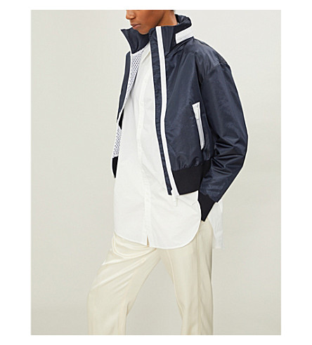 THOM BROWNE Hooded shell jacket (Navy