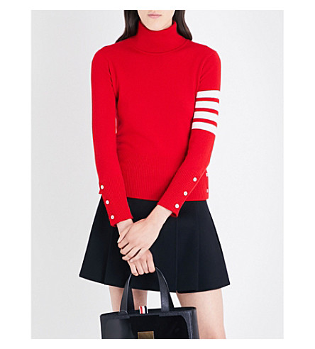 THOM BROWNE Stripe-detail turtleneck cashmere jumper (Red