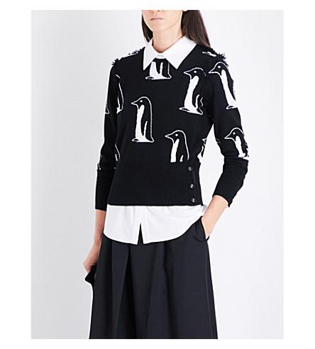 THOM BROWNE Penguin-intarsia cashmere jumper (Black