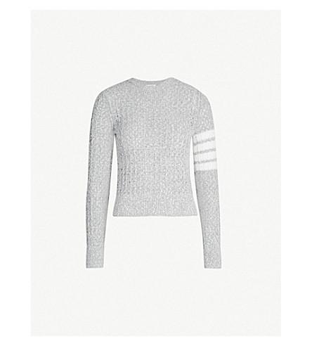 THOM BROWNE 签名条纹 bouclé羊毛毛衣 (地中海 + 灰色