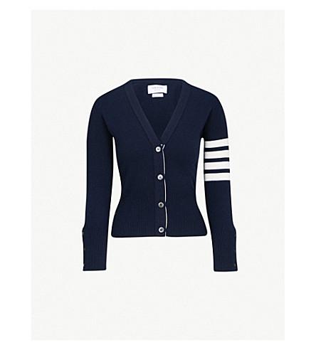 THOM BROWNE V-neck cashmere cardigan (Navy