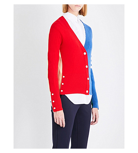 THOM BROWNE Colour-block knitted cashmere cardigan (Seasonal multi