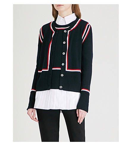 THOM BROWNE Intarsia layered wool cardigan (Navy