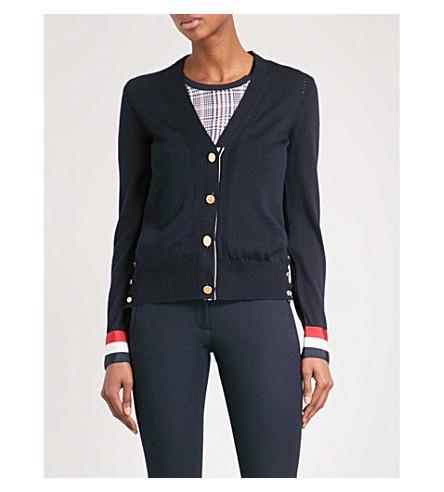 THOM BROWNE Stripe-detail wool cardigan (Navy