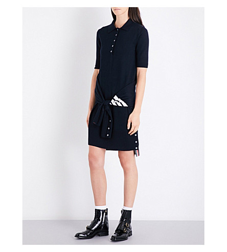 THOM BROWNE 2-in-1 wool polo dress (Navy