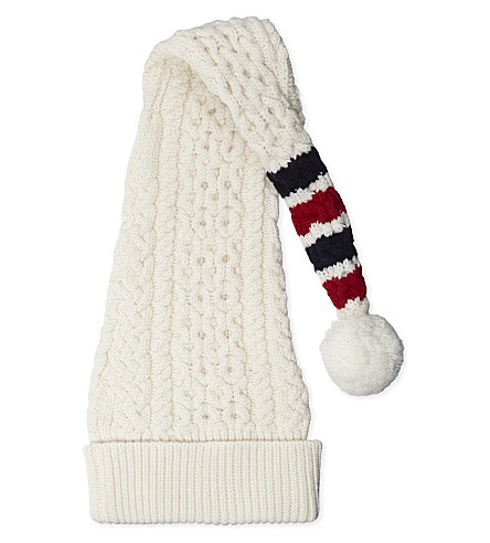 THOM BROWNE Four bar stocking wool beanie (White