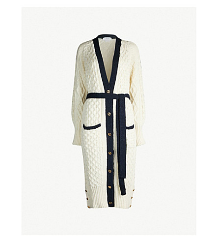 THOM BROWNE Cable-knit wool and mohair-blend cardigan (White