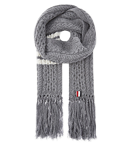 THOM BROWNE Cable-knit wool scarf (Light+grey