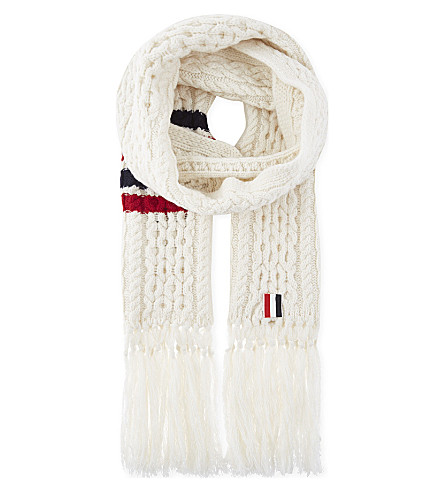 THOM BROWNE Cable-knit wool scarf (White