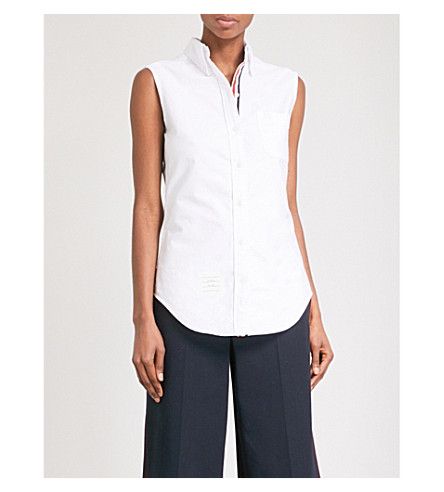 THOM BROWNE Oxford sleeveless cotton-poplin shirt (White