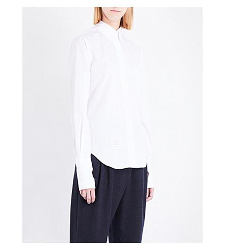THOM BROWNE Button-down collar cotton-poplin shirt (White