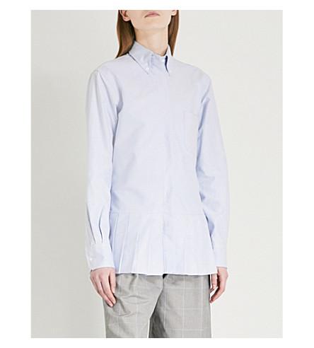 THOM BROWNE Pleated cotton-poplin shirt (Light+blue