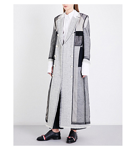 THOM BROWNE Patchwork double-breasted wool coat (Med+grey