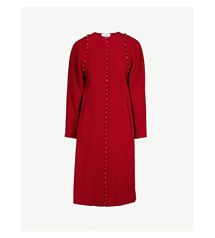 THOM BROWNE Bridal buttoned trims wool coat (Red