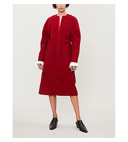 Bridal buttoned trims wool coat(FOC404A03469)