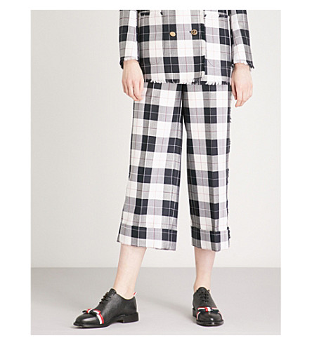 THOM BROWNE Checked wool-blend trousers (Navy