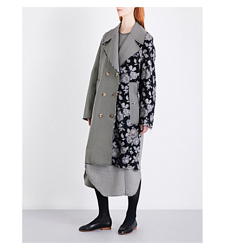SONG FOR THE MUTE Floral and houndstooth-pattern woven coat (Black+/+white