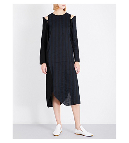 SONG FOR THE MUTE Cold-shoulder strap-detail woven dress (Black