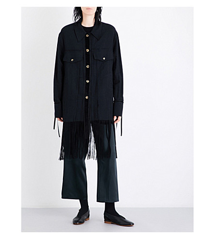 SONG FOR THE MUTE Fringed-hem drill jacket (Black