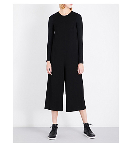 SONG FOR THE MUTE Frayed-hem sleeveless woven jumpsuit (Black