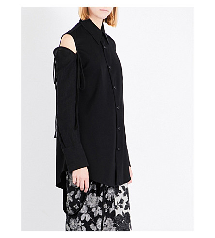SONG FOR THE MUTE Cold-shoulder strap-detail wool shirt (Black