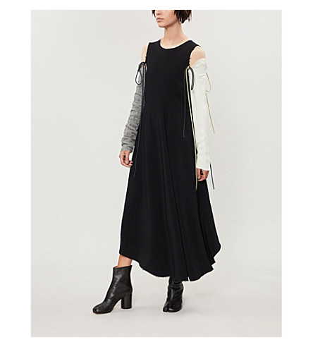 SONG FOR THE MUTE Detachable sleeves crepe dress (Black