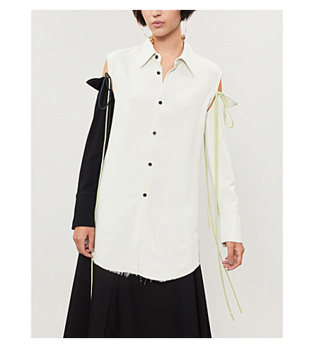 SONG FOR THE MUTE Detachable sleeves crepe shirt (Chalk