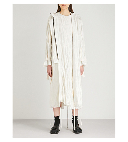 SONG FOR THE MUTE Wander Beach metallic crinkled cotton-blend parka coat (White