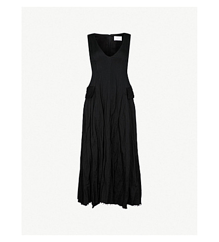 SONG FOR THE MUTE Distressed sleeveless woven midi dress (Black
