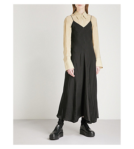 SONG FOR THE MUTE V-neck satin slip dress (Black