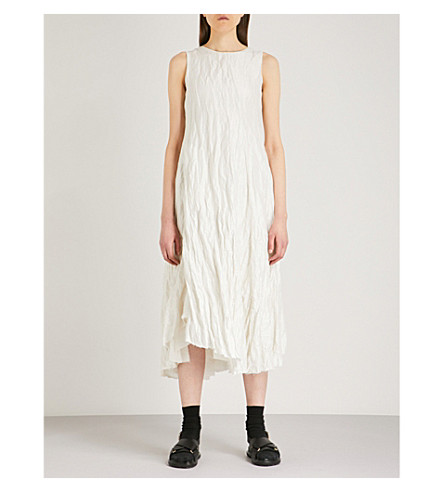 SONG FOR THE MUTE Metallic crinkled cotton-blend midi dress (White