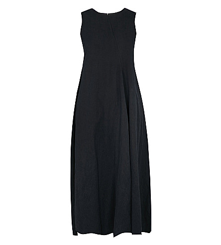SONG FOR THE MUTE Washed gabardine midi dress (Navy