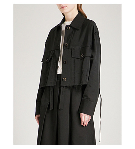 SONG FOR THE MUTE Deconstructed woven worker jacket (Black
