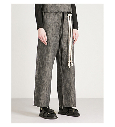 SONG FOR THE MUTE Wide-leg high-rise denim trousers (Chalk