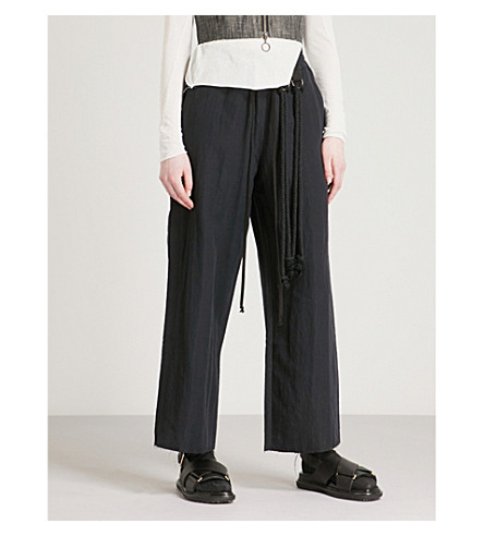 SONG FOR THE MUTE Wide-leg high-rise woven trousers (Navy
