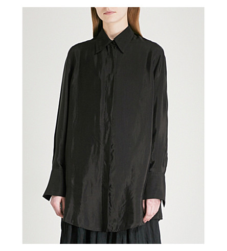 SONG FOR THE MUTE Oversized woven shirt (Black
