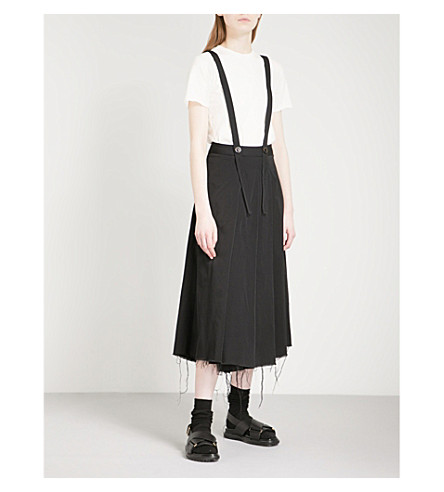 SONG FOR THE MUTE Pleated woven skort trousers (Black
